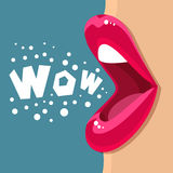 Open mouth and WOW Message Royalty Free Stock Photos