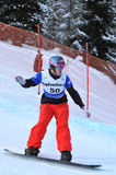 Open mouthed. Mouth wide open of a finalist in the 2010 snowboard cross world championship finals Stock Image