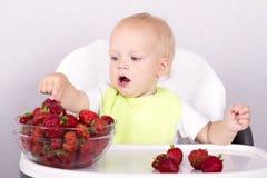 Open mouthed das entzückende Kleinkind, das Erdbeeren wählt Nettes Baby, das Erdbeeren isst Stockbild