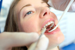 Open mouthed woman at dentist Royalty Free Stock Image