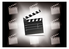 Open Movie clap. Against white background illustration Royalty Free Stock Photo