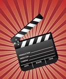Open Movie Clapboard. With red beams background. Vector Royalty Free Stock Images
