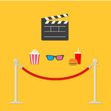 Open movie clapper board 3D glasses popcorn soda hamburger template icon. Red rope barrier stanchions turnstile  Flat design style Stock Photos