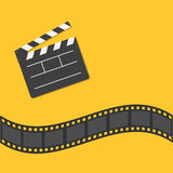 Open movie clapper board template icon. Film strip border. Cinema movie night icon in flat design style. Yellow background. Vector illustration Stock Images