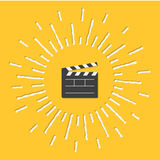 Open movie clapper board template icon. Flat design style. Shining effect dash line circle. Vector illustration Stock Photos