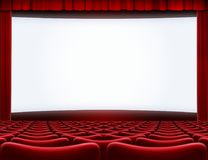 Open movie screen in cinema theater 3d illustration. Open movie screen in cinema theater Royalty Free Stock Photo