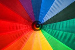 Open multicolored umbrella shot closeup Stock Photo