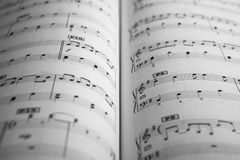 Open musical book. Clos-up Royalty Free Stock Photo