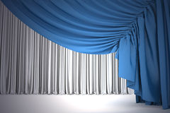 Open navy blue theater curtain with light and shadows Stock Photo