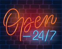 Open 24 7. Neon sign Royalty Free Stock Photography