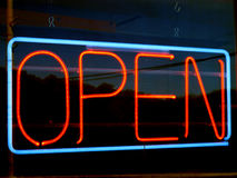 Open neon sign. An image of open neon sign at night Royalty Free Stock Photo
