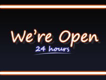 We are open neon sign. Glowing neon sign of 24 hours open notification Royalty Free Stock Images