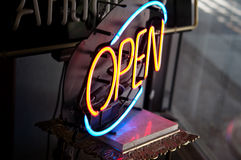 Open Neon sign in antique store Royalty Free Stock Image