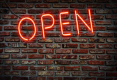 Open neon sign. Stock Image