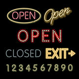 Open Neon Sign closed exit figures vector Stock Photos