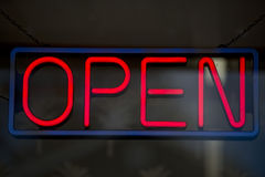 Open neon sign isolated Royalty Free Stock Photo