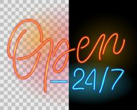 Open 24 7. Neon sign Stock Images