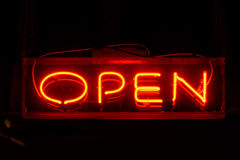 Open neon sign Royalty Free Stock Images
