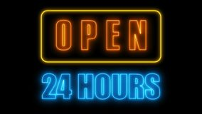 Open 24-7 neon sign, retro style signboard for bar or club, 3d render computer generated background. Open 24-7 neon sign, retro style signboard for bar or club Royalty Free Stock Image