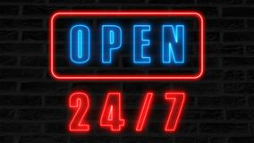 Open 24-7 neon sign, retro style signboard for bar or club, 3d render computer generated background. Open 24-7 neon sign, retro style signboard for bar or club Royalty Free Stock Photo