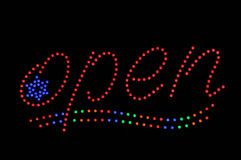 Open Neon Sign with Star Royalty Free Stock Photography