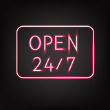Open. Neon signboard 24/7 hours on a black background. 24 hours Shop / Bar / Night club Neon lights. Vector illustration Royalty Free Stock Photos