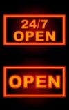 24 7 Open Neon Zwarte Achtergrond Royalty-vrije Stock Foto's