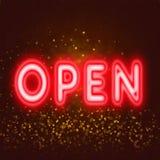 Open neonteken voor onthaal aan klantenconcept Stock Foto