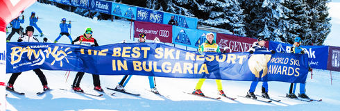 Open new ski season 2015-2016 in Bansko, Bulgaria. Marc Girardelli, Markus Wasmeier, Petar Popangelov Stock Photo