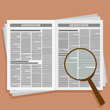 Open newspaper with loupe. Vector illustration. Royalty Free Stock Photos