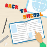 Open Note Book Back To School Education Banner. Flat Vector Illustration Royalty Free Stock Images