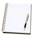 Open note book with pen Royalty Free Stock Image
