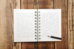 A open note book with pencil Stock Photo