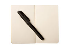 Open Note Pad and The Pen. Open Note Pad and A black pen isolated on white with clipping path Stock Images