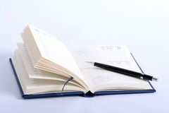 Open notebook. An open notebook with pencil Royalty Free Stock Photography