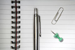 Open notebook and accessories Royalty Free Stock Images