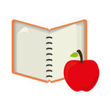 Open notebook with apple fruit Royalty Free Stock Photography