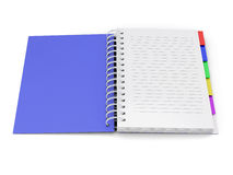 Open notebook with the blue cover with spring Stock Photos