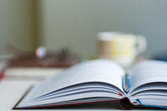 Open Notebook Blurred Background Royalty Free Stock Photo