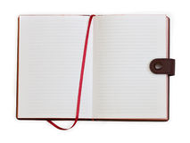 Open notebook with bookmark. On white background royalty free stock photography