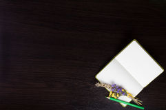 Open notebook with boutonniere and green pencil in the corner of dark wooden background. Stock Photos