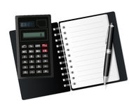 Open notebook, calculator and pen. Stock Photos