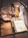Open notebook with cookie recipe Stock Photo