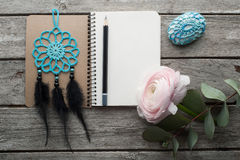 Open notebook, dream catcher Stock Images