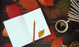 Open notebook with empty blank pages, a cup of coffee and a warm plaid Royalty Free Stock Images