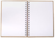 Open notebook with empty pages. Classic notebook with two empty pages, can be used as background for messages or pictures Royalty Free Stock Image