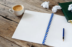Open notebook with empty white pages Royalty Free Stock Image
