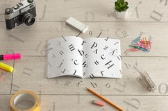 Open notebook with letters on it Stock Photos