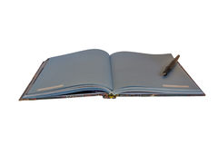 Open notebook with fountain pen, isolated. Royalty Free Stock Image