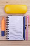 Open notebook, Free space for text. glasses On the desk. Top view. in Office Stock Photos